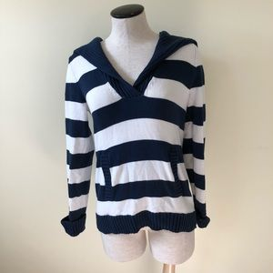 Liz Claiborne navy blue & white stripe sweater S